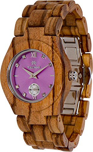 Maui Kool Wooden Watch Hana Collection for Women Analog Wood Watch Bamboo Box (B6 - Zebra Lavender)