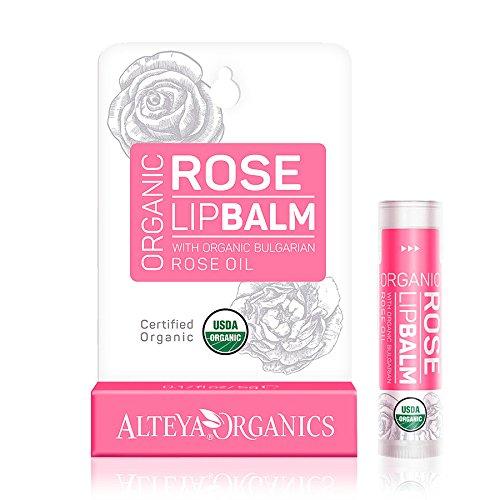 Alteya Organic Balsamo Labbra con olio essenziale di Rosa Bulgara 5 g – USDA certificata organica pura bio naturale ristrutturativa cura labbra sotto
