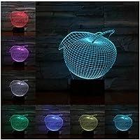 3Dイリュージョンナイトライト フルーツアップル キッズおもちゃナイトライト3Dオプティカルイリュージョンナイトランプスマートタッチ+7色変更調光可能、誕生日プレゼント男の子クリスマス女の子