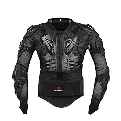 HEROBIKER Motorcycle Full Body Armor Jacket spine chest protection gear Motocross Motos Protector Motorcycle Jacket 2 Styles (XL, Black)