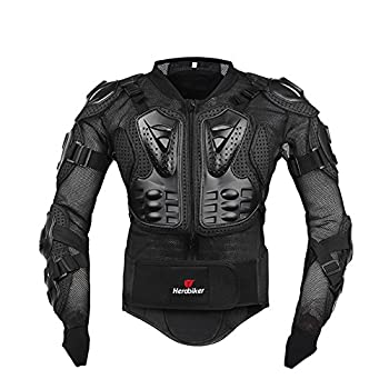 HEROBIKER Motorcycle Full Body Armor Jacket spine chest protection gear Motocross Motos Protector Motorcycle Jacket Armour  Large black