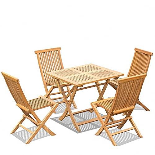 BIANGEY Conjunto de Muebles de jardín Plegable, Bistro Set 5 Piezas, Teca, 4 sillas y 1 Mesa, jardín, terraza, Villa, Junto a la Piscina, decoración del Patio
