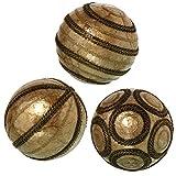 DRW Bolas decoración nacaradas Redondas de 10 cm (Doradas Cuerdas)