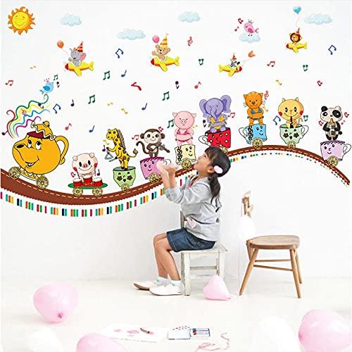 Wuixisajjh Tren De Animales Pegatinas De Pared Habitación De Los Niños De Dibujos Animados Kindergarten Música Aula Decoración De La Pared Pegatinas