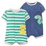 Baby Sommer Strampler Jumpsuit Jungen Mädchen Spieler Kurzarm Schlafstrampler Baumwolle Bodysuit Schlafanzug Outfit 9-12 Monate