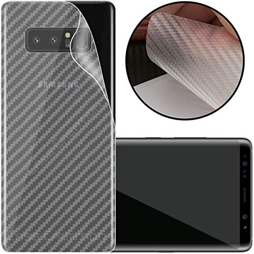 S-Softline Ultra Thin Slim Fit 3M Clear 3D Carbon Fiber Back Skin Rear Screen Guard Protector Sticker Protective for Samsung Galaxy Note 8 (Transparent)