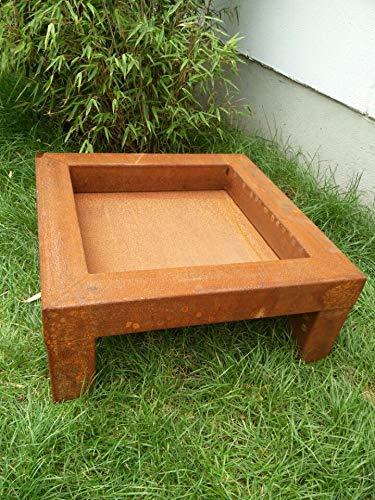 Zen Man 031582-2 Edelrost Tuin vuurschaal van metaal, tuinschaal, plantenbak, rooster, metaal, 80 x 80 x 24 cm, handgemaakt, 13 kg