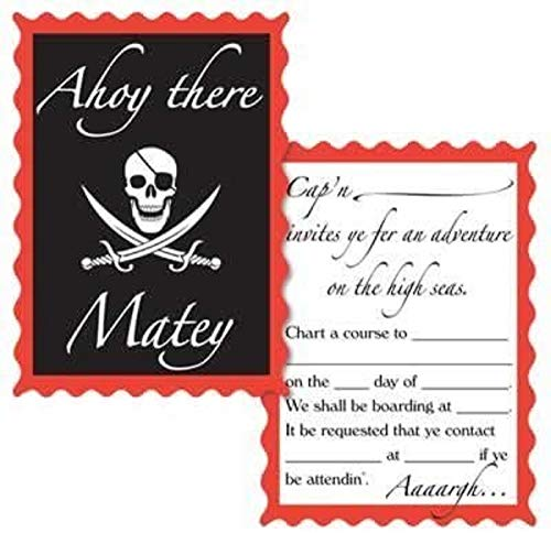 Pirate Party Invitations envelopes included