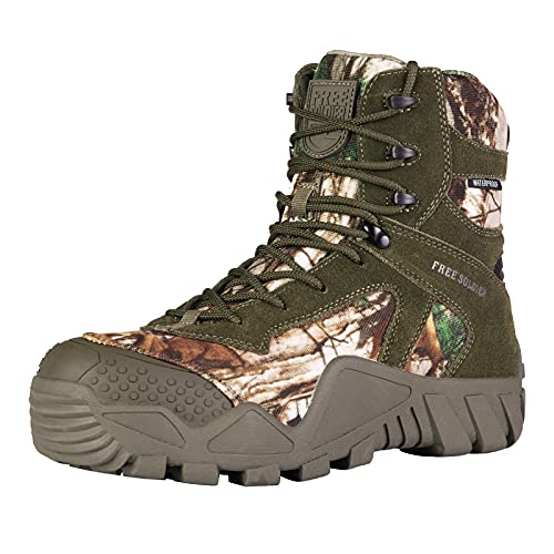 FREE SOLDIER Outdoor Men's Waterproof Tactical Military Boots Suede Leather Work Boots Combat Hunting Boots (10.5 M US Camo)
