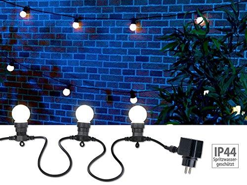 Lunartec Lichterkette Glühbirnen: Party-Lichterkette, 20 weiße LEDs in Glühbirnenform, 8 W, 13 m, IP44 (Lichterkette außen Glühbirnen)