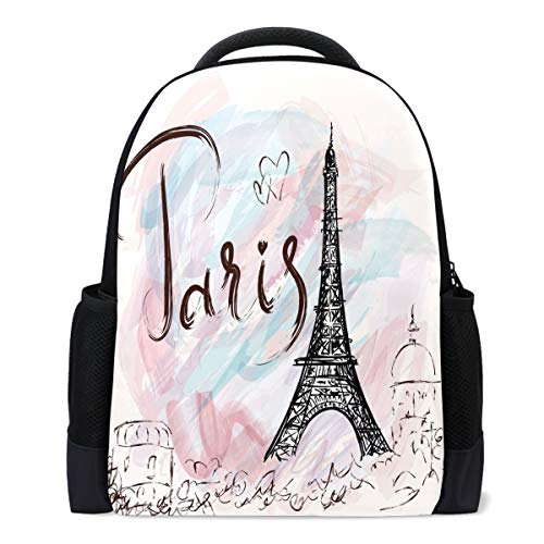 Vdsrup Vintage Eiffel Tower Paris Backpack Romantic France Flower Love Heart Pink Bookbag Laptop Book Bag Casual Water Resistant Day Pack Travel Sports Daypack for Men Women