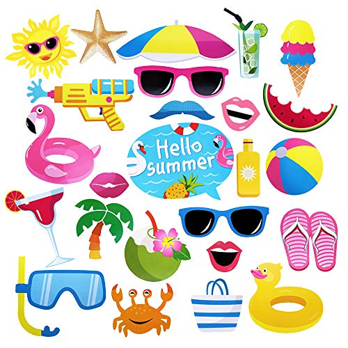 Pool Photo Booth Props Beach Pool Party Favors Summer Party Photo Props for Baby Shower, Birthday, Hawaii