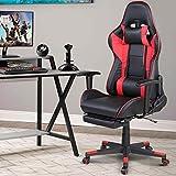 bakaji sedia poltrona gaming scrivana ufficio casa in ecopelle schienale reclinabile cuscino lombare poggiatesta rotazione 360 gradi direzionale altezza regolabile base 5 ruote con poggiapiedi