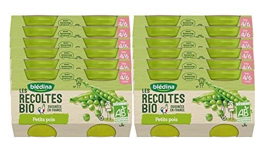 Blédina - Les Récoltes Bio - 24 petits pots pour bébé - Petits Pois dès 4/6 mois (Pack de 12x2 pots)
