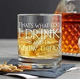 Lplpol Vaso de whisky con texto en inglés 'I Drink and I Know Things', vasos de whisky personalizados, regalos para el día del padre, vasos de whisky Scotch Rocks, regalos para papá