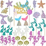 Wootkey Glitter Mermaid Theme Birthday Cake Topper Under the Sea Party Supplies Cake Decoration Cupcake Toppers 36 pcs Mermaid Tail