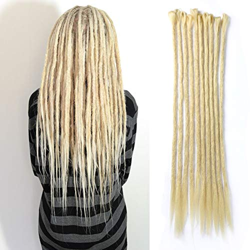 DAIRESS 10 Stands 20 Inches Handmade Dreadlocks Extensions Crochet Braids Reggae Hair Hip-Hop Style Faux Locs Crochet Hair For Rock&Roll Hippie Braiding Hair (#613 Pale Blonde)