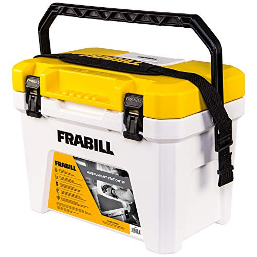 Frabill Magnum Bait Station 19 Quart Live Bait Well, White and Yellow