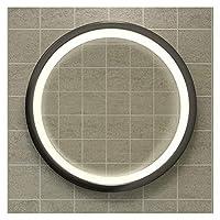 バスルームミラーミラーLED照明ミラーメタルフレーム(ゴールデン、ブラック)|モダンメイクミラー-ラウンドウォールミラー(カラー:ブラック、サイズ:70cm)
