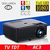 Full HD 1080P Projektor, SEELUMEN 2019 Neuer PW100-S, maximale Helligkeit transporttasche LED-Billig-LCD-Beamer mit DVB-T-Tuner HDMI-USB-Unterstützung MKV AC3 für PS4, XBOX, Switch (SCHWARZ)