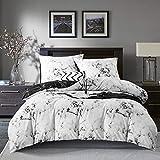 Gezu Ropa de cama de 220 x 240 cm, efecto mármol, color blanco, gris y negro, juego de ropa de cama reversible de microfibra, funda nórdica y 2 fundas de almohada de 80 x 80 cm con cremallera