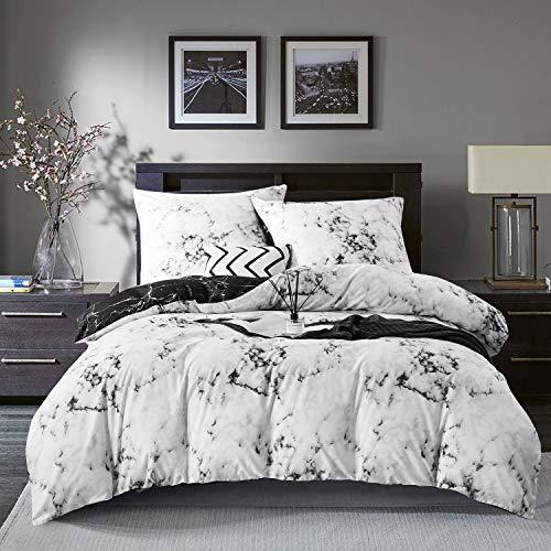 Gezu Ropa de cama 135 x 200 cm, aspecto de mármol, blanco, negro y gris, moderno, reversible, cama individual de microfibra, funda nórdica y funda de almohada de 80 x 80 cm, con cremallera