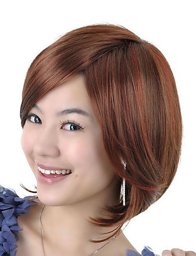 Capless Perruque de cheveux synthétiques de haute qualité aspect naturel marron doré