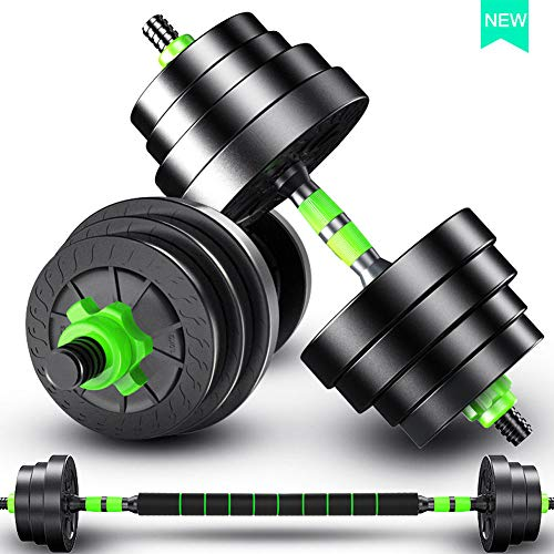 RUBANG Weights Dumbbells Set,Adjustable Dumbbells Adjustable Weight to 66Lbs with Connector, Lifting Dumbells for Men and Women Can Be Used As Barbell for Home Gym Work Out Training,Green,66LB