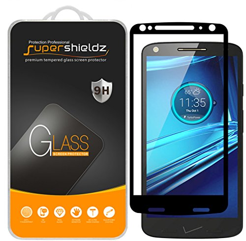 (2 Pack) Supershieldz Designed for Motorola (Droid Turbo 2) Tempered Glass Screen Protector, (Full Screen Coverage) Anti Scratch, Bubble Free (Black)