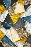 """抽象ブルーグリーンイエローゴールドラインジオメトリキャンバスポスタープリント絵画壁アート写真リビングルームオフィス装飾19.6"""" x31.4""""(50x80cm)フレームなし"""