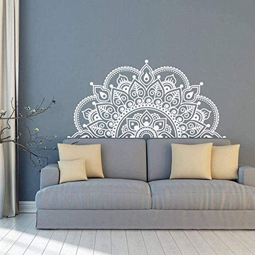 Vinilo de pared Mandala Half Mandala Vinilo Etiqueta de pared Yoga Gift Ideas Master Dormitorio Cabecero Arte Patrón Decoración-85x42cm Blanco
