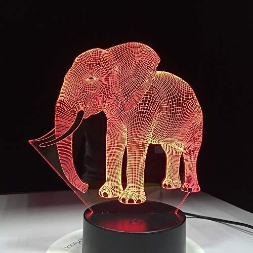 3D Night Light Space,Niedliche Elefant 3D Illusion Led Tischlampe Nachtlicht Mit Tier Elefanten Form Touch 7 Farben Effekt Ändern Kinder Hobbys Lampe