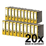 Original Falken 20er Pack Recycling-Ordner Wolkenmarmor. Made in Germany. 8 cm breit DIN A4 gelber Rücken Ringordner Aktenordner Briefordner Büroordner Pappordner Blauer Engel