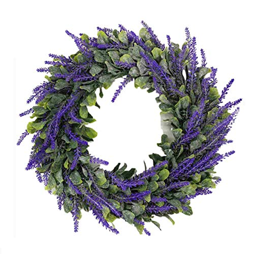 Künstlicher Lavendelkranz,Valentinstag Kränze Blumenkranz für Haustür Gypsophila Blumenkranz ,Lavendelkranz Willkommens Türkranz für Wand, Hochzeit Dekor,Romantische Urlaubsatmosphäre,violett (628)