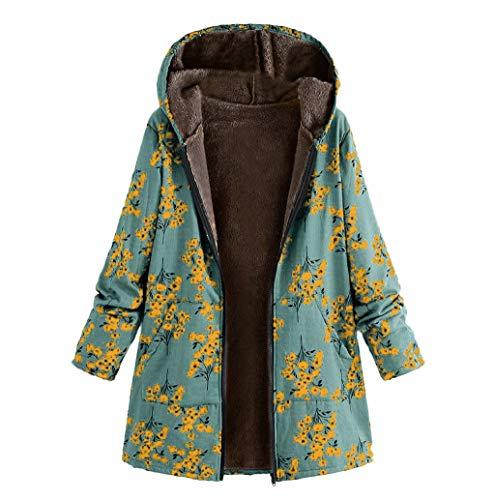 VêTements Hiver Chaud Femme Peluche Poches Manteau Zippé à Capuche à Imprimé Floral Manteaux Oversize Vintage Moyen-Age Veste Grande Taille Blouson LONUPAZZ