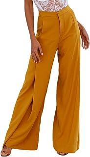 WanYangg Pantaloni Larghi da Donna Eleganti Vita Alta Gamba Larga Ampi Pantaloni Palazzo con Tasca
