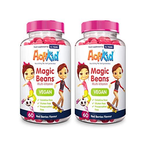 2X ActiKid Magic Beans Vegan Multi-Vitamin 60x Red Berries Flavour | Gelatine Free | Kid's Vitamin | Immunity Booster