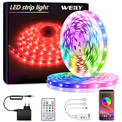 Tiras LED, WEILY Bluetooth Luces LED RGB 10M 5050 con Control Remoto Control, 150 Tira LED de Brillo y 4 opciones DIY para la Habitación, Dormitorio, Techo, 12V [Clase de eficiencia energética A+++]
