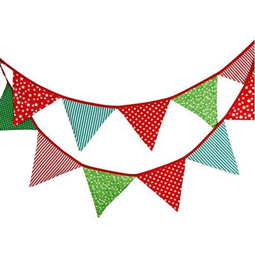 Banderines de tela de 3,3 m con 12 banderines triangulares de doble...