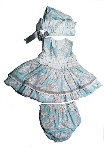 Jesusito de Niña con 3 Piezas Vestido Braguitas y Capota | para Bebes de 6 a 12 Meses | Estampado Azul | Hechos en España con la Máxima Calidad