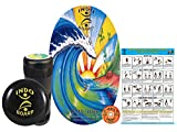 INDO BOARD Original Training Package - Rabbit Hole Design - Balance Board for Fitness Training and Fun - Comes with 30' X 18' Deck, 6.5' Roller and 14' IndoFLO Cushion