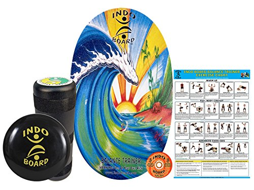INDO BOARD Original Training Package - Bamboo Beach Design - Balance Board for Fitness Training and Fun - Comes with 30' X 18' Deck, 6.5' Roller and 14' IndoFLO Cushion