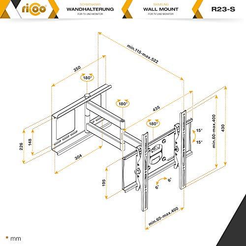 RICOO R23-S Support Murale TV Orientable Inclinable Universel 31-65