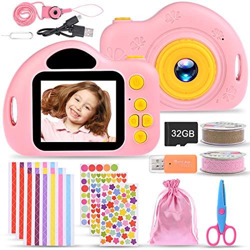 Nabance - Cámara de fotos para niños, cámara digital, 32 G, tarjeta de vídeo grabada HD 1080p, recargable, mini Toy Camera de juguete para niños y niñas, regalo de cumpleaños o Navidad rosa