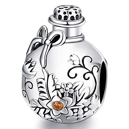 ZiFouDou Abalorio para Pulsera Pandora&Chamilia,Abalorio de Plata de Ley 925,Originales Bead Charm para Collare -Deseando Botella