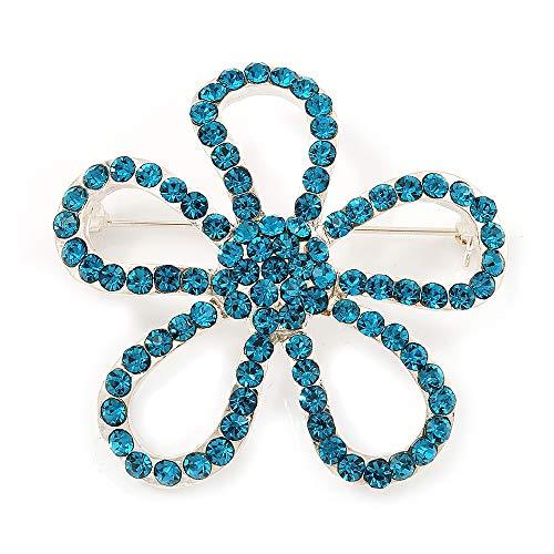 Avalaya Teal Crystal Open Flower Brooch in Silver Finish - 4.5cm Diameter