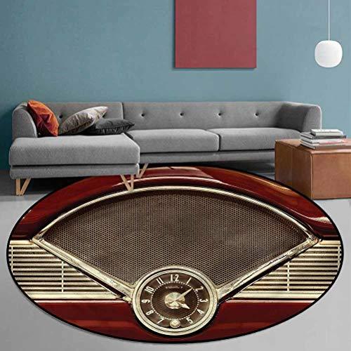1950s Polyester Round Area Carpet Washable Non-Skid Bath Mat Classic Car Dashboard Clock 5