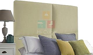 H-Cube meble tapicerowane wyściełane łóżko Divan baza zagłówek len tkanina 100 cm seria do montażu na ścianie (kremowy - 3...