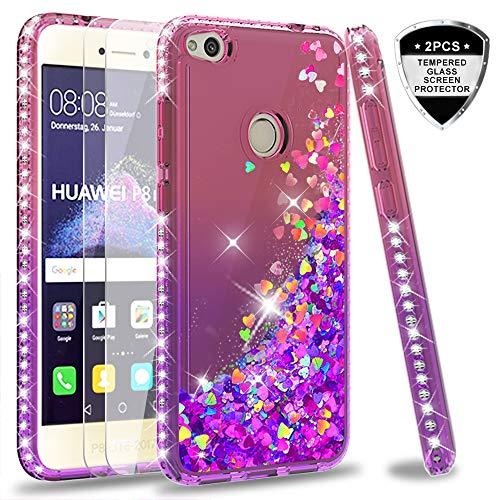 LeYi Hülle Huawei P8 Lite 2017 / Honor 8 Lite Glitzer Handyhülle mit Panzerglas Schutzfolie(2 Stück),Cover Diamond Schutzhülle für Case Huawei P8 Lite 2017 Handy Hüllen ZX Gradient Pink Purple