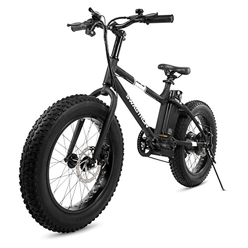 "Swagtron EB-6 Bandit E-Bike 350W Motor, Power Assist, 4"" Tires, 20"" Wheels, Removable 36V Lithium Ion Battery, Dual Disc Brakes– Electric Bike..."